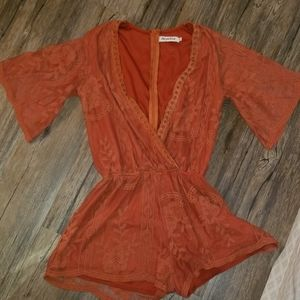 SALE PRICE Bohemian Rust Embroidered Deep V Romper